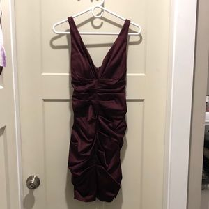 Xscape burgundy wine stretch ruched cocktail dress